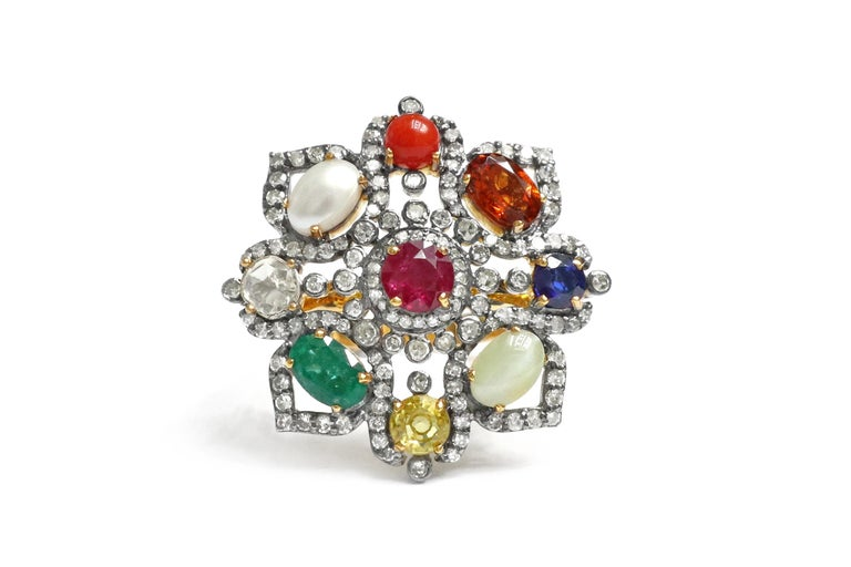 Nine Precious Gems Fashion Ring in Art Deco Style In New Condition For Sale In Jaipur, IN