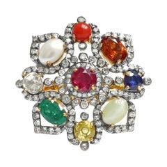 Nine Precious Gems Fashion Ring in Art Deco Style
