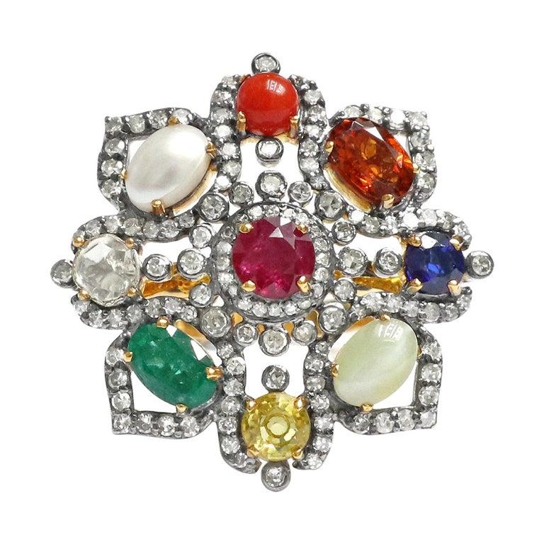 Nine Precious Gems Fashion Ring in Art Deco Style For Sale