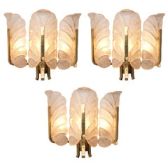 Nine Wall Lights in Brass and Structured Glass