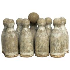 Ninepins Wooden Set with Ball, France, circa 1850