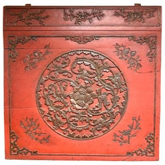 Nineteenth Century Chinese Antique Carved Wall Sculpture Plaque Relief Screen