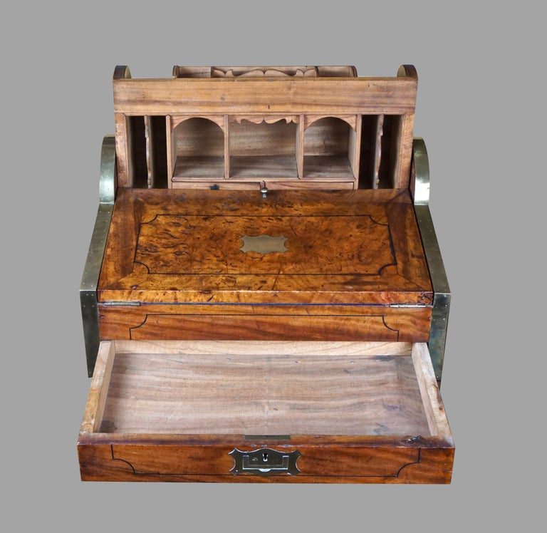 19th Century Chinese Export Camphorwood Brass Inlaid Portable Desk In Good Condition For Sale In San Francisco, CA