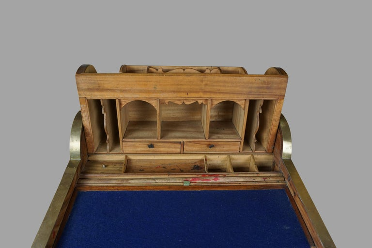 Hardwood 19th Century Chinese Export Camphorwood Brass Inlaid Portable Desk For Sale