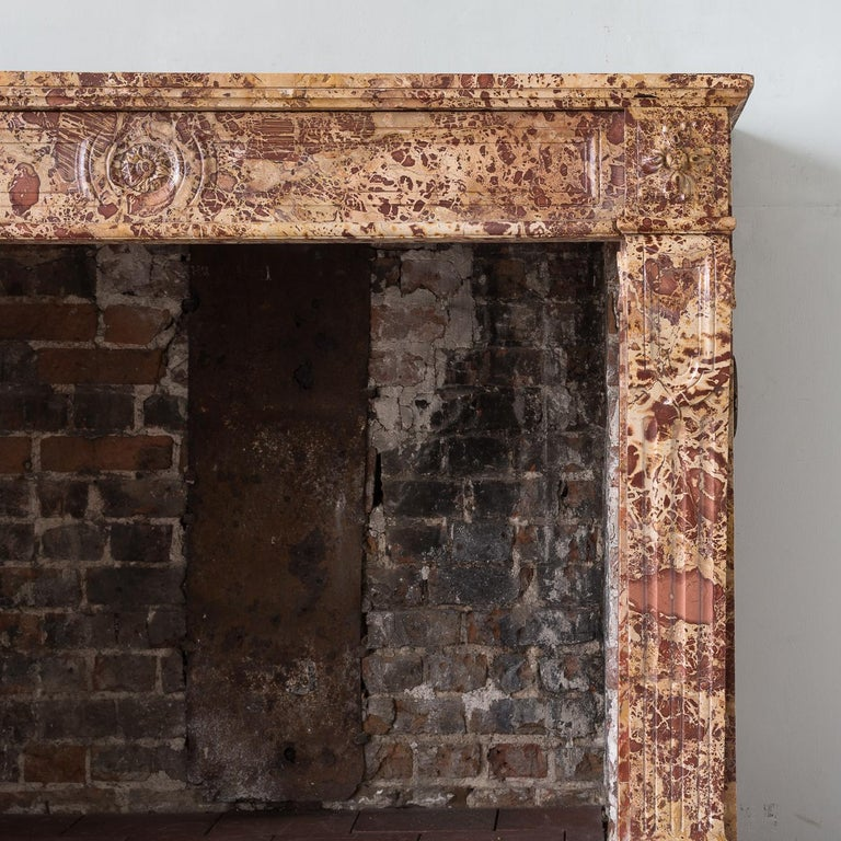 Louis XVI 19th Century French Breche Fireplace For Sale