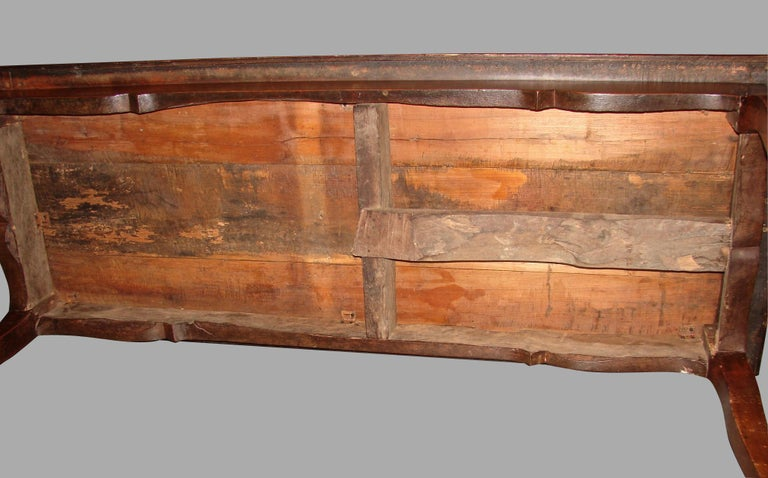 19th Century French Fruitwood Farm Table with Long Drawer For Sale 9