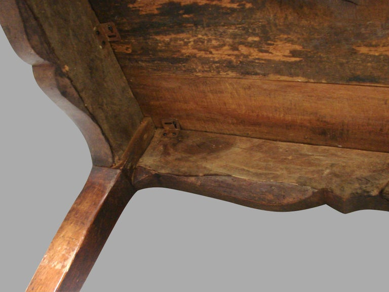 19th Century French Fruitwood Farm Table with Long Drawer For Sale 11