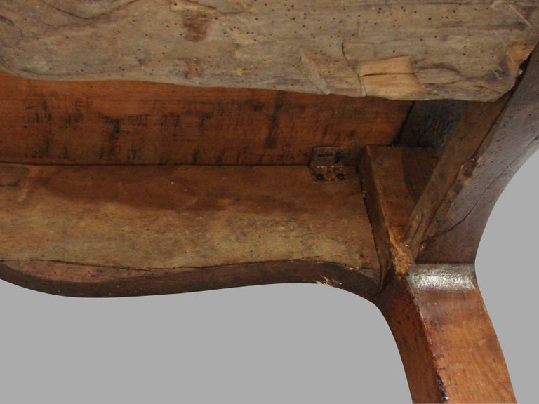 19th Century French Fruitwood Farm Table with Long Drawer For Sale 12