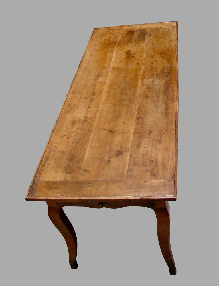 19th Century French Fruitwood Farm Table with Long Drawer For Sale 1