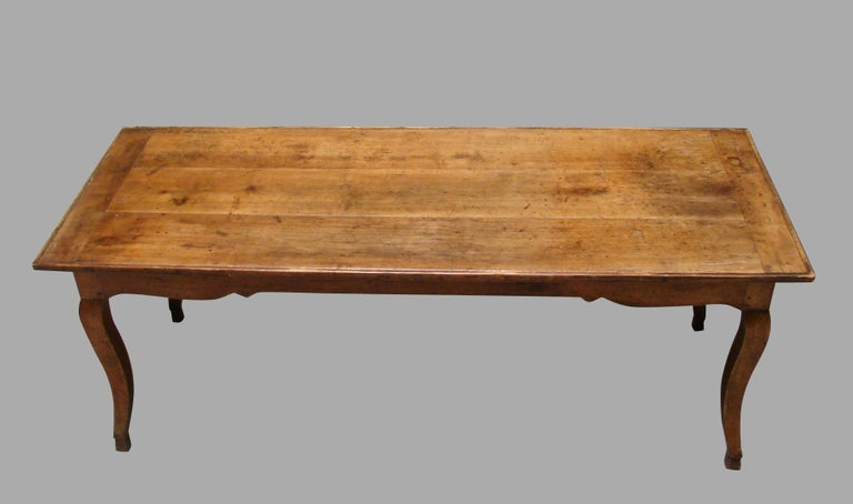 19th Century French Fruitwood Farm Table with Long Drawer For Sale 2
