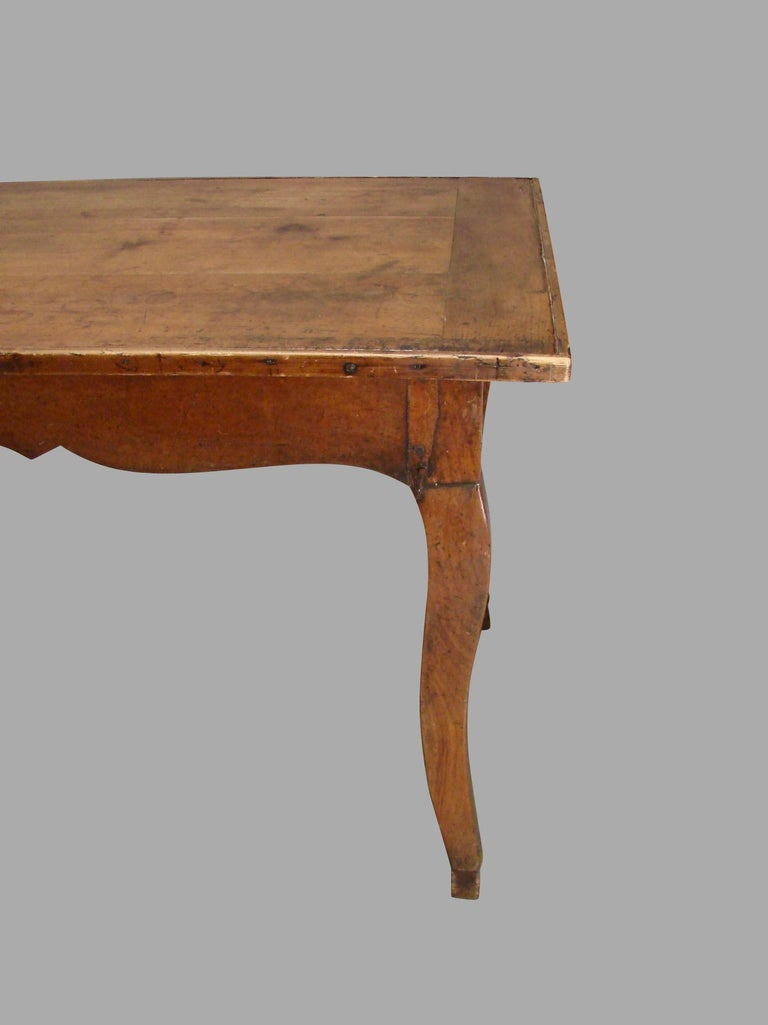 19th Century French Fruitwood Farm Table with Long Drawer For Sale 3