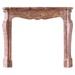 Nineteenth Century French Pompadour Fireplace in Brocatello Marble