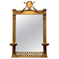 Nineteenth Century Giltwood Carved Italian Mirror with Wall Bracket Sconces