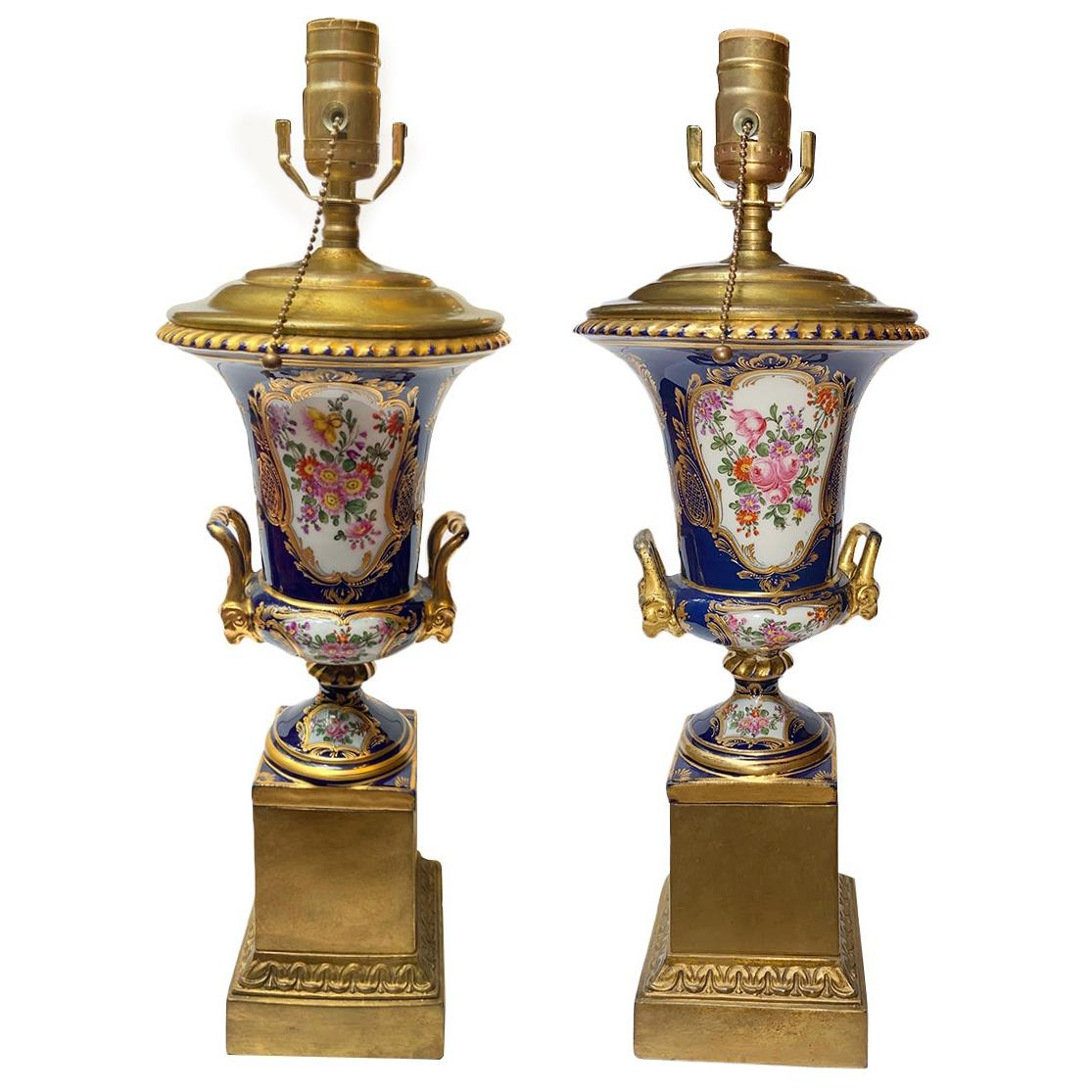 Nineteenth Century Porcelain Urn Table Lamps