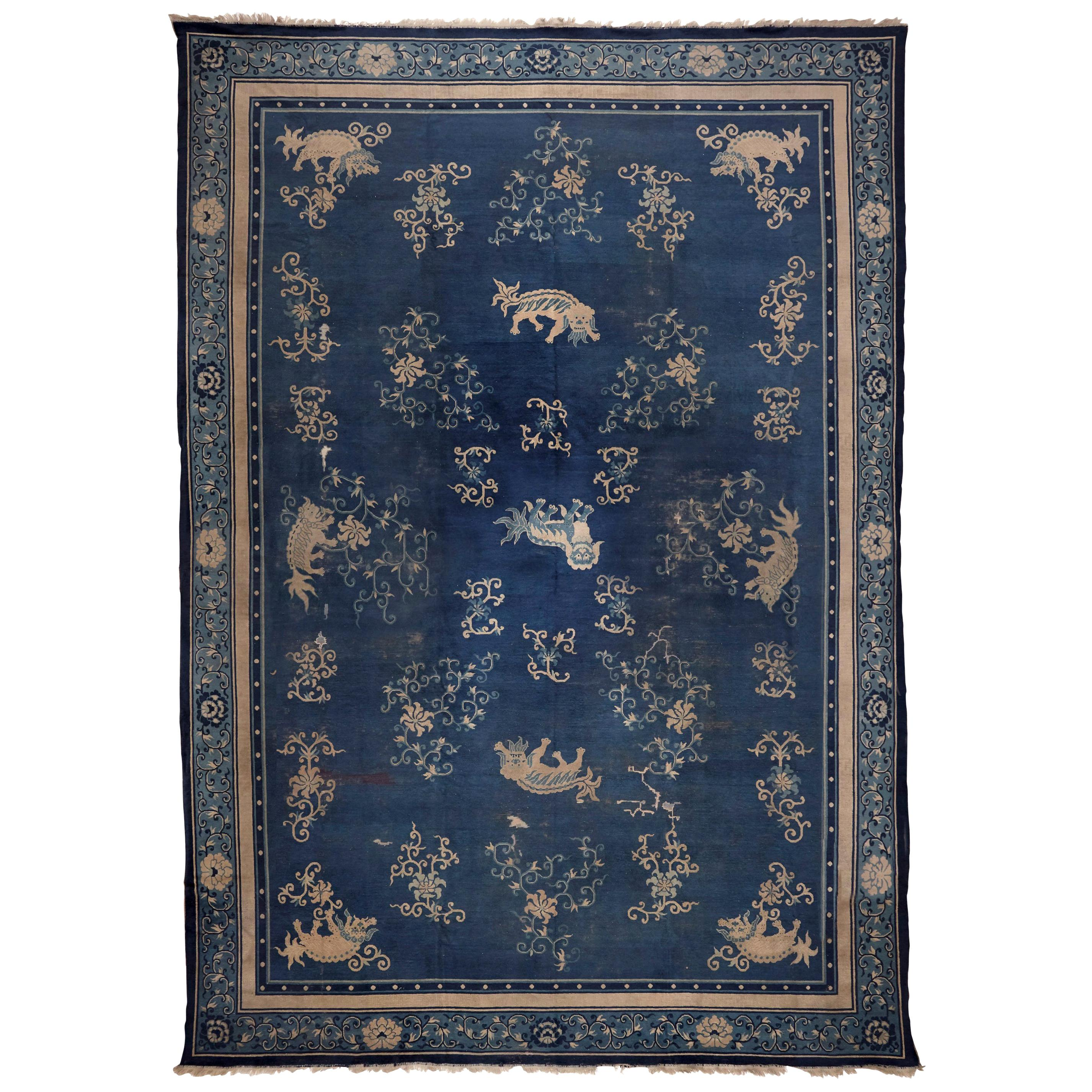 Ningshia, Chinese Export, Hand Knotted Wool, Antique Rug, circa 1920