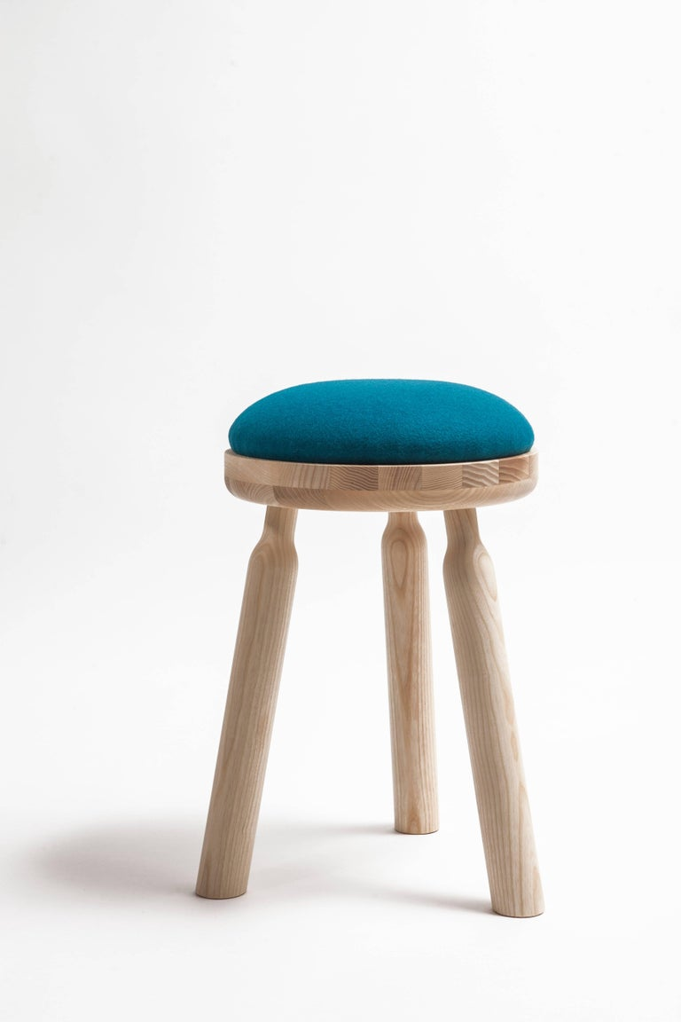 Modern Ninna Stool by Carlo Contin with Ashwood and Wool Fabrics For Sale