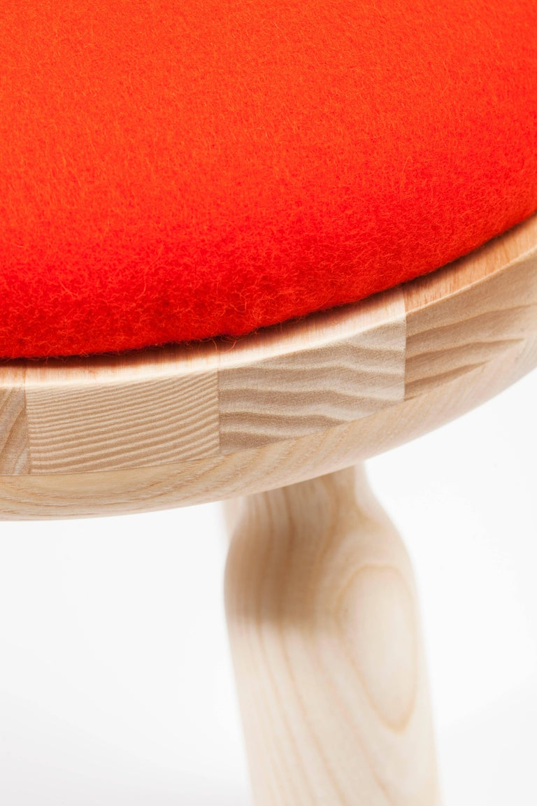 French Ninna Stool by Carlo Contin with Ashwood and Wool Fabrics For Sale