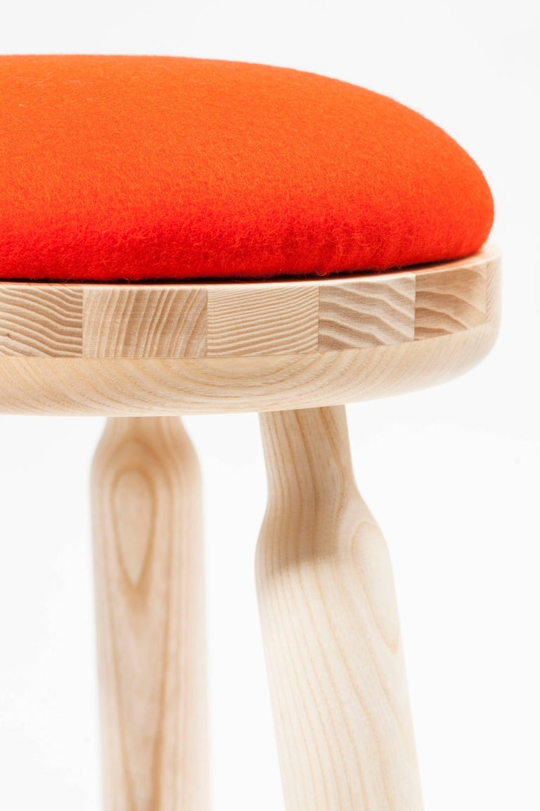 Turned Ninna Stool by Carlo Contin with Ashwood and Wool Fabrics For Sale