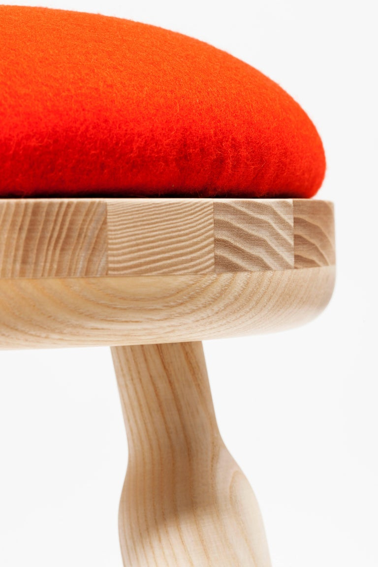 Contemporary Ninna Stool by Carlo Contin with Ashwood and Wool Fabrics For Sale