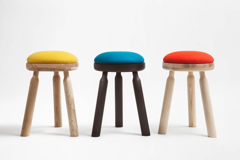 Ninna Stool by Carlo Contin with Ashwood and Wool Fabrics For Sale 1