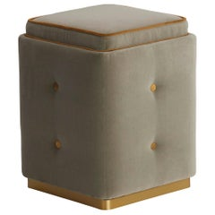 Nino Pouf with Brushed Brass Plinth and Buttons