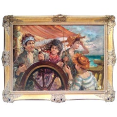 Nino Salvadori Esposito Boat with Children Painting 1970s, Signed