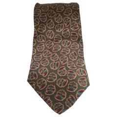 Nino Salzano green silk multicoloured tie