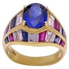 Nino Verita 18 Karat Yellow Gold Ring with Diamonds, Rubies and Sapphires