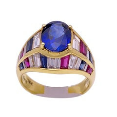 Nino Verita 18 Karat Yellow Gold Ring with Diamonds, Rubies and Sapphires