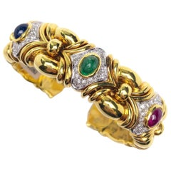 Nino Verita 18 Karat Gold, 3.98 Carat Cabochon Gem and .95 Carat Diamond Cuff