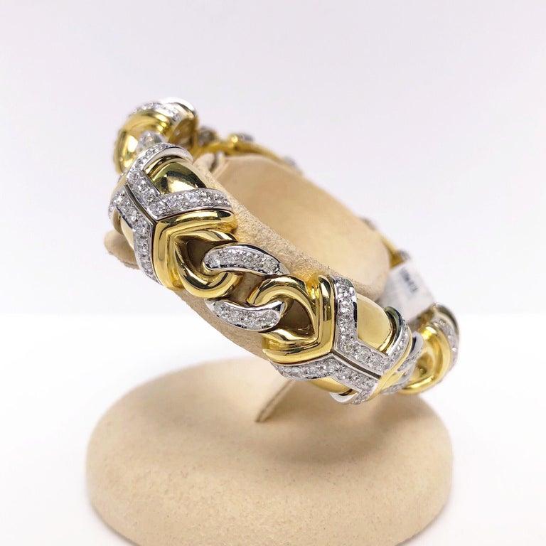 Round Cut Nino Verita 18 Karat Yellow Gold and 5.03 Carat Diamond Bracelet For Sale