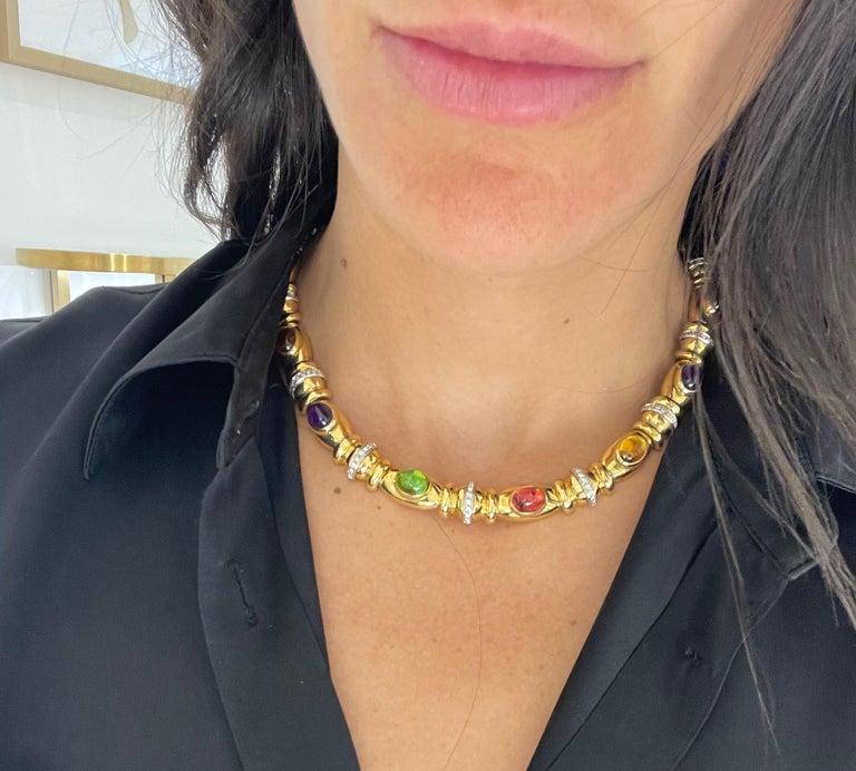 Retro Nino Verita 18kt. Yellow Gold Diamond .90ct. & Cabochon Semi Precious Necklace For Sale