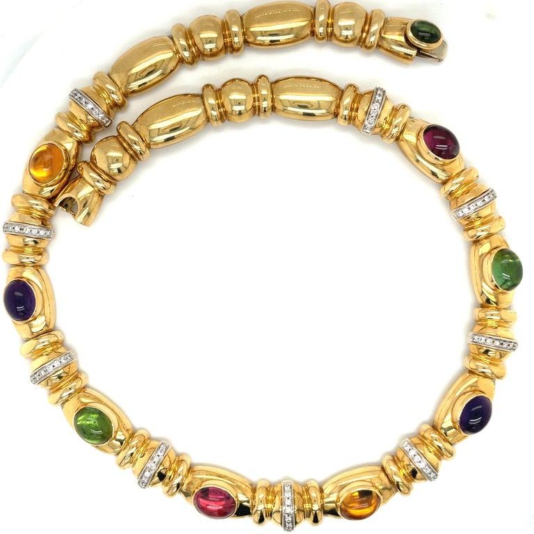 Nino Verita 18kt. Yellow Gold Diamond .90ct. & Cabochon Semi Precious Necklace In New Condition For Sale In New York, NY