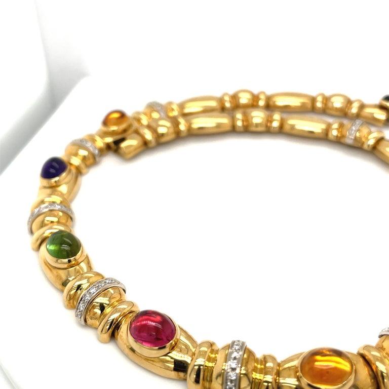 Men's Nino Verita 18kt. Yellow Gold Diamond .90ct. & Cabochon Semi Precious Necklace For Sale