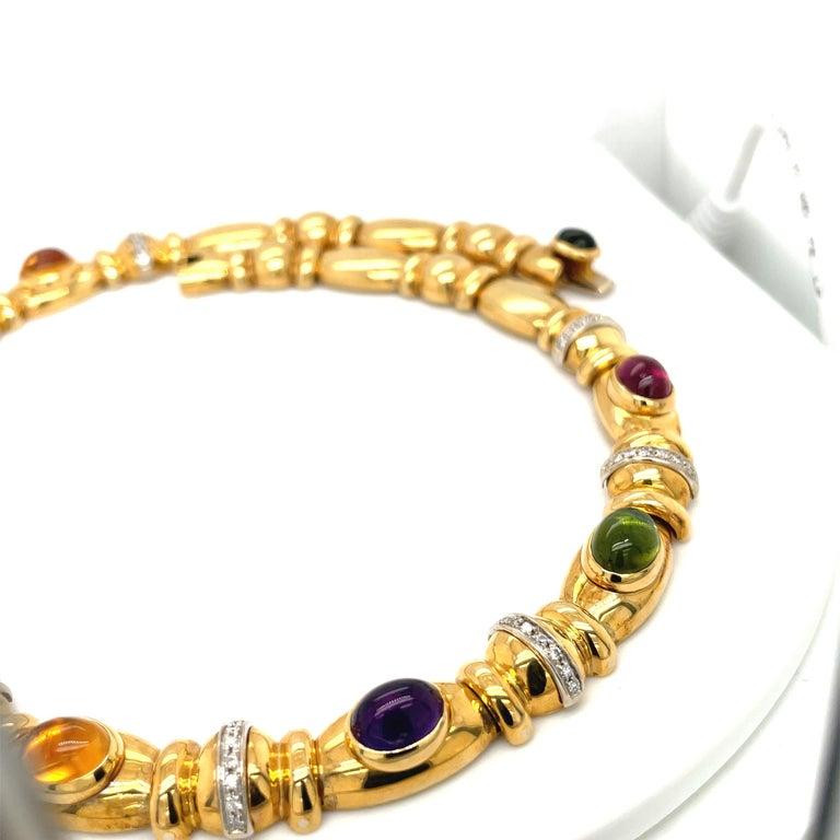 Nino Verita 18kt. Yellow Gold Diamond .90ct. & Cabochon Semi Precious Necklace For Sale 1
