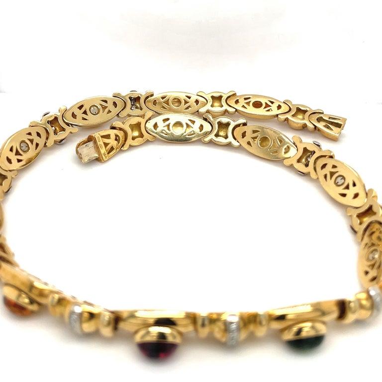 Nino Verita 18kt. Yellow Gold Diamond .90ct. & Cabochon Semi Precious Necklace For Sale 3