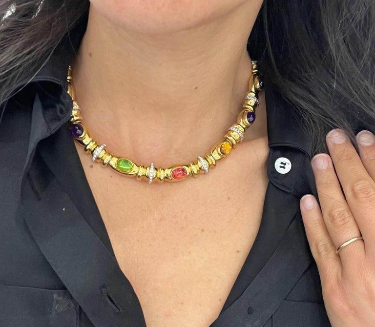 Nino Verita 18kt. Yellow Gold Diamond .90ct. & Cabochon Semi Precious Necklace For Sale 4