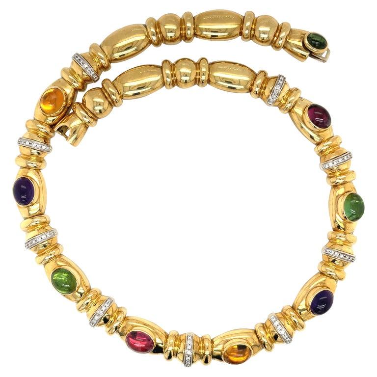 Nino Verita 18kt. Yellow Gold Diamond .90ct. & Cabochon Semi Precious Necklace For Sale