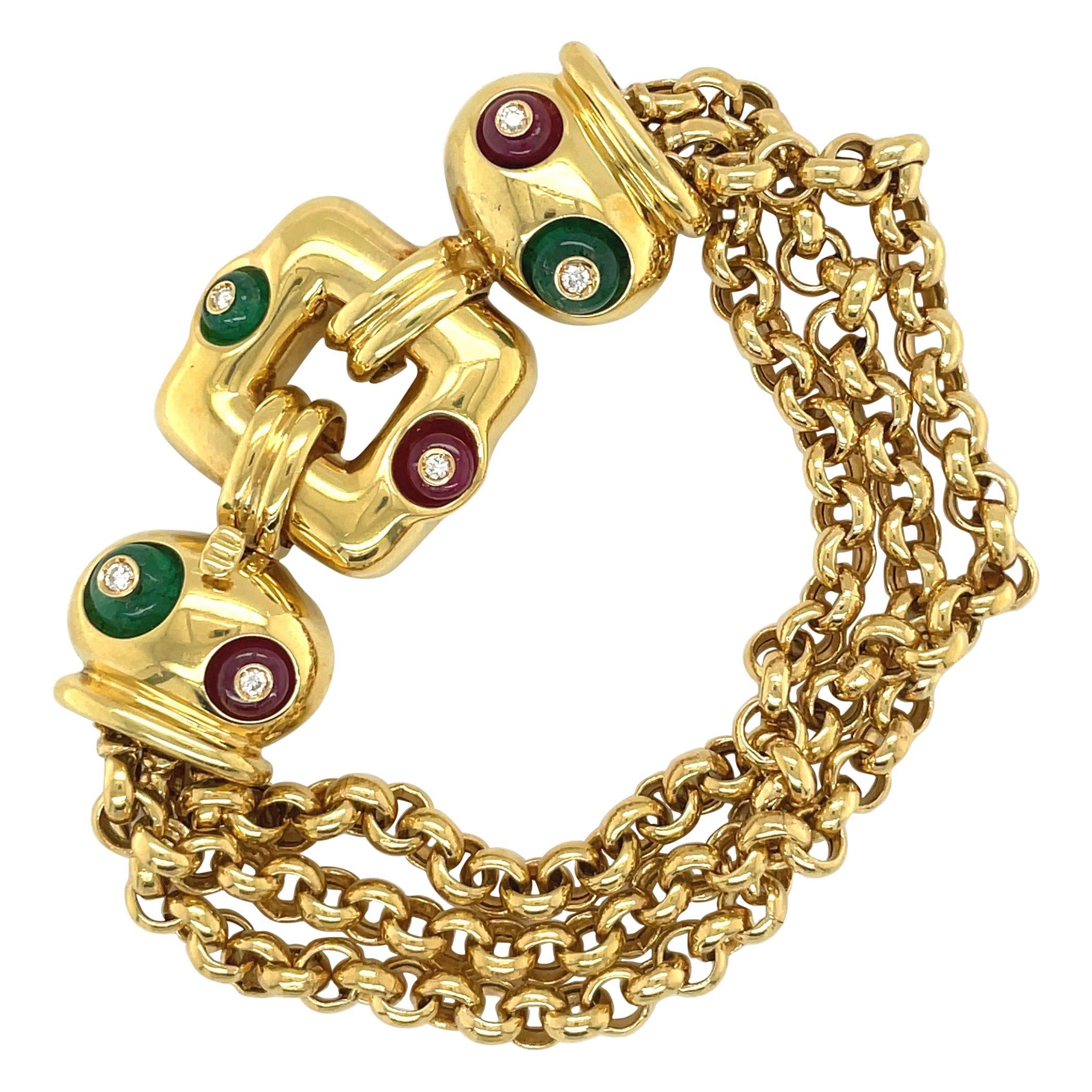 Nino Verita 18kt Yellow Gold Link Bracelet with Diamond, Beaded Ruby & Emerald