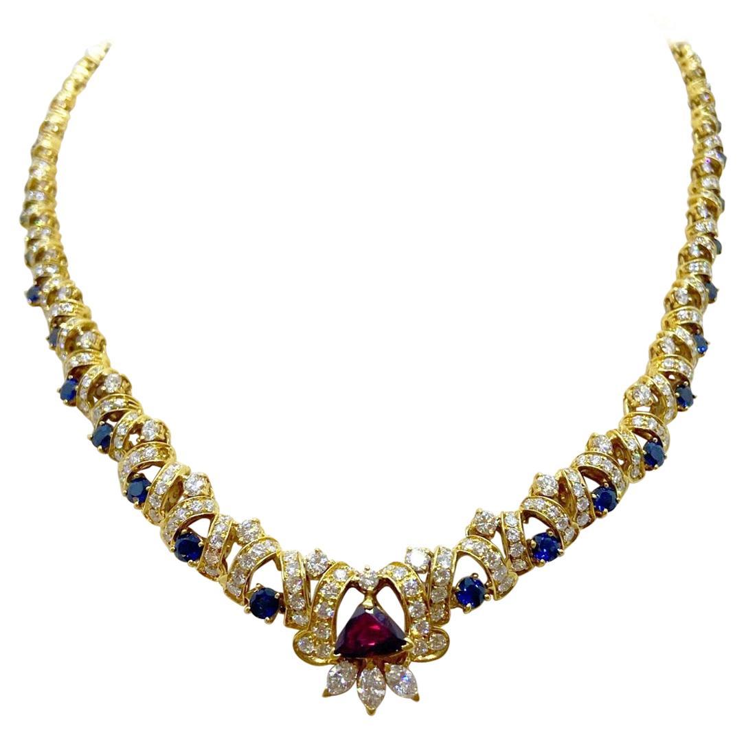 Nino Verita for Effe V 18 Karat Gold Necklace with Diamond, Ruby, and Sapphire