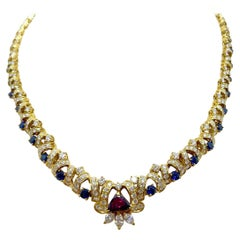 Nino Verita for Effe V 18 Karat Gold Necklace with Diamond, Ruby, and Sapphire