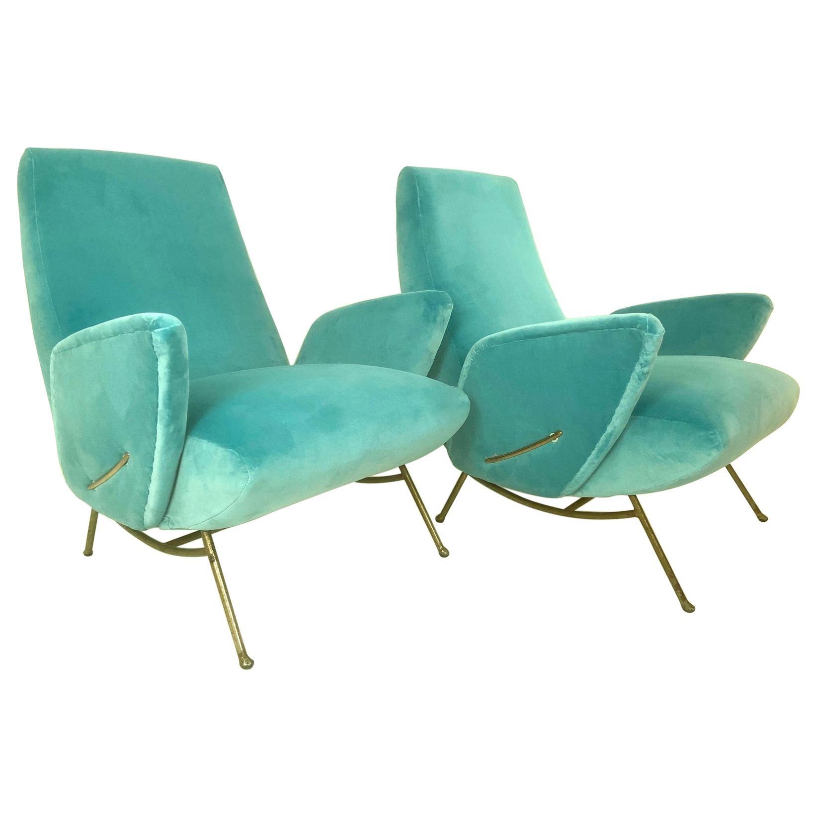 Nino Zoncada Italian Mid-Century Modern Pair of Turquoise Blue Armchairs, 1950
