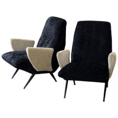 Nino Zoncada Midcentury Pair of Armchair Covered with Double Color Velvet
