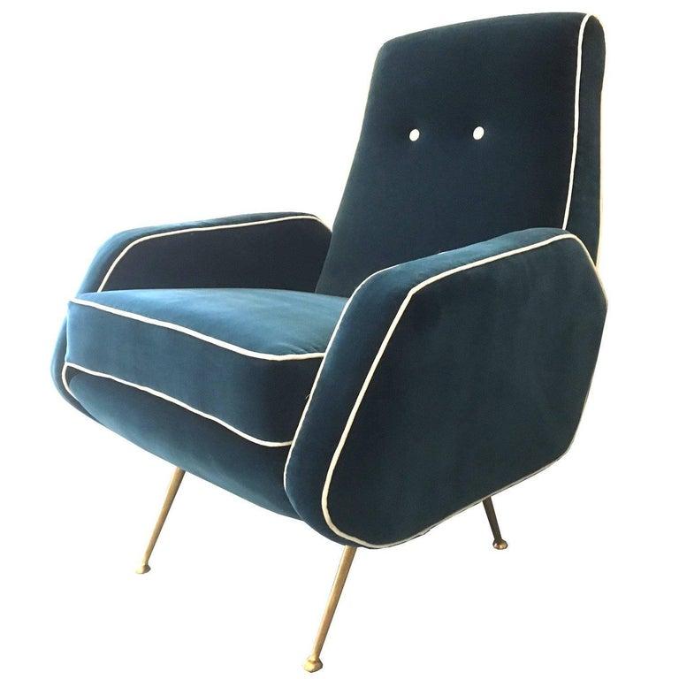 Nino Zoncada Style Blue Velvet Armchair, Italy, 1950s