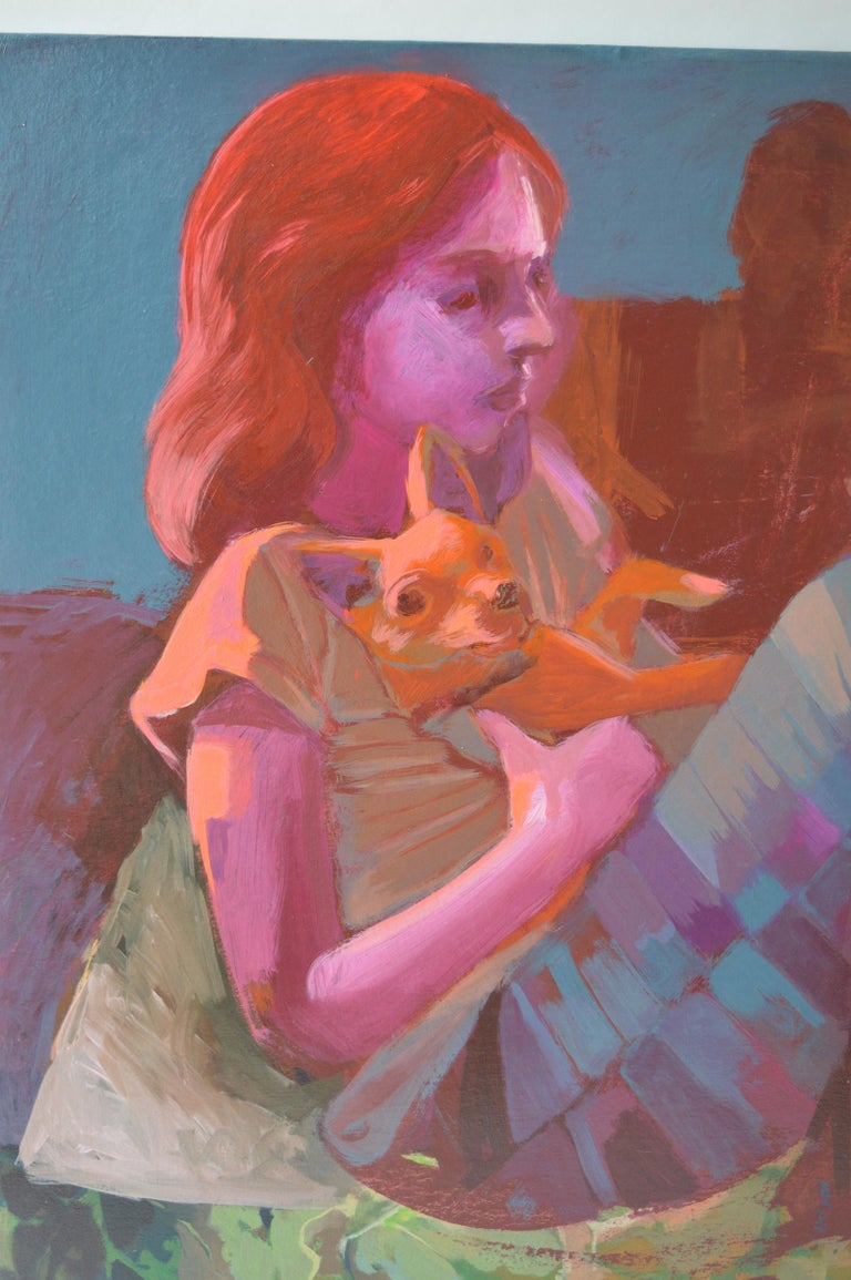Oil on canvas of a girl and her dog.