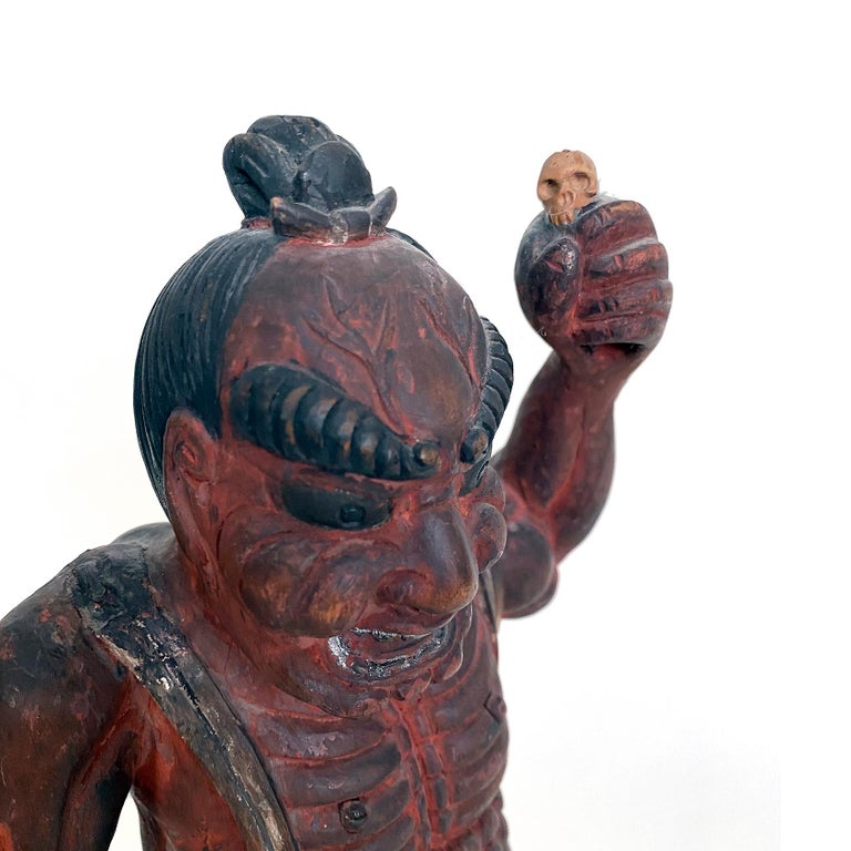 Nio, Guardian of the Buddha Guatama, Polychrome Wood, Japanese, Meiji In Good Condition For Sale In Point Richmond, CA