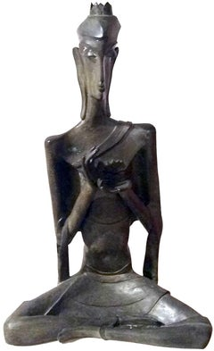 "Buddha, God, Bronze Sculpture by Modern Indian Artist ""In Stock"""