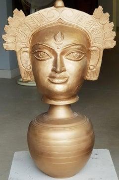Devi Durga, Indian Goddess, bronze sculpture by Modern Artist Niranjan Pradhan
