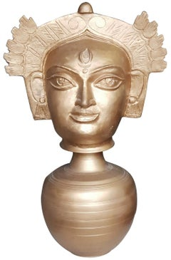 "Devi Durga, Indian Goddess, Bronze Sculpture by Modern Indian Artist ""In Stock"""