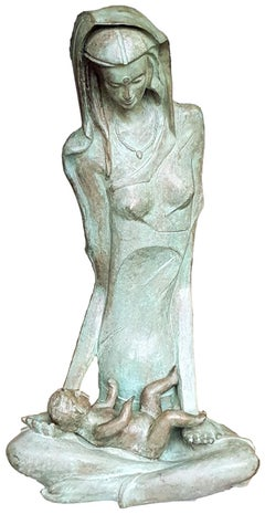 "Mother & Child, Bronze, Green-Brown patina; famous Indian artist ""In Stock"""